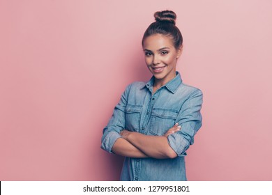 Profile side view portrait of her she nice pretty attractive lovable winsome charming cheerful lady wearing blue shirt folded arms isolated over pink pastel background