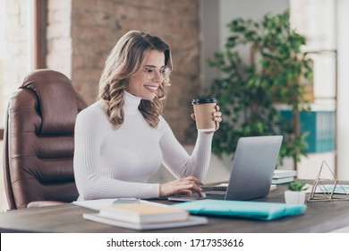 Profile side view portrait of her she nice attractive cheery wavy-haired girl ceo boss chief drinking latte using digital laptop in modern loft brick industrial interior style workplace station