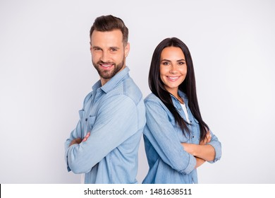 Profile side view portrait of his he her she nice attractive pretty lovely charming cute cheerful cheery content persons folded arms isolated over light white pastel background