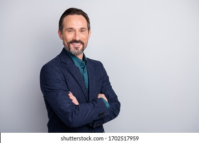 Profile side view portrait of his he nice attractive cheerful cheery glad middle age man in old-fashioned formalwear folded arms recruiter isolated over light white gray pastel color background