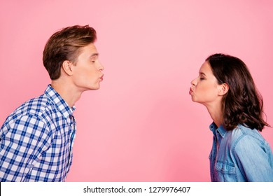 Profile side view portrait of nice sweet charming adorable lovely attractive flirty couple reaching out to each other closed eyes isolated over pink pastel background