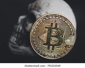 Profile of skull with bitcoin