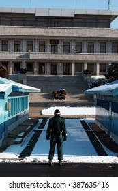 Profile of a South Korean soldier at the de-militarized done (DMZ).