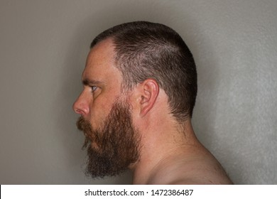 profile view of a bearded topless man looking