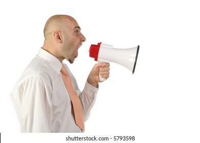 A profile view of a businessman wearing a white shirt and tie, yelling into an electronic bullhorn or megaphone. Isolated on white background.