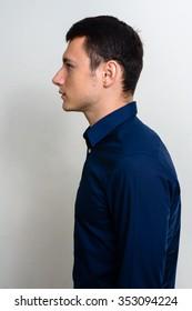 Profile view of Caucasian man