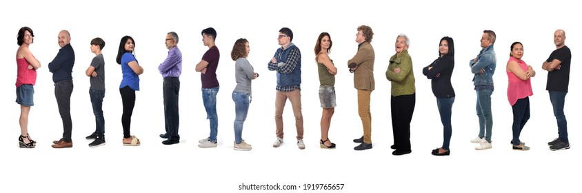 profile view of a group of men and women with crossed arms on white background