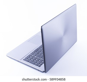Profile view of a laptop computer on white background. Horizontal shoot.