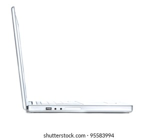 Profile view of a laptop isolated on white