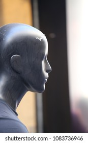 Profile view of a male mannequin head in a french store. Bright surface with ear, eye, nose and lips visible. Blur vertical elements in background. Abstract image of a person portrait, .