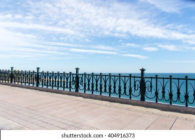 Profile view of Mediterranean Sea from the balcony of Europe at Tarragona Spain
