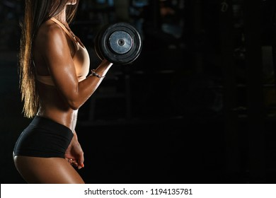 Profile view photo of powerful muscular woman holding black dumbbells in hands trying to built muscle mass at class in gym. Black copy space.