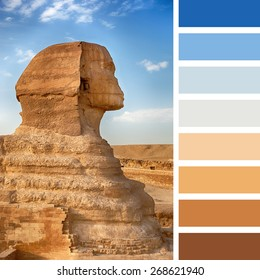 A profile view of the Sphinx, Giza, Egypt, in a colour palette with complimentary colour swatches.