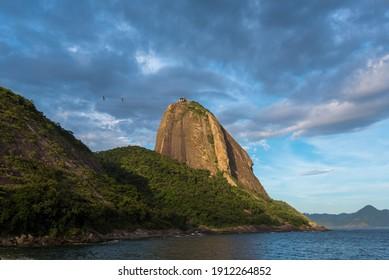 Profile View of the Sugarloaf Mountain Above Guanabara Bay in Rio de Janeiro, Brazil