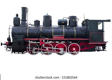 Profile of vintage locomotive for design