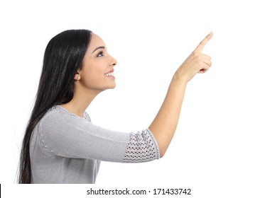 Profile of a woman pointing an advertisement isolated on a white background
