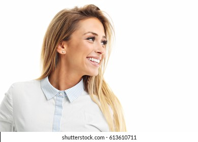 Profile of woman smiling isolated on white