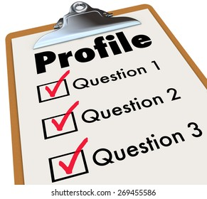 Profile word on a clipboard checklist and several boxes for answers to questions asking personal data, information, background, experience, education and other private details