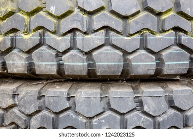 Profile of a worn out tyre, closeup