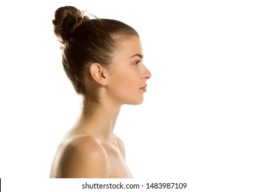 Profile of young beautiful shirtles woman on white background
