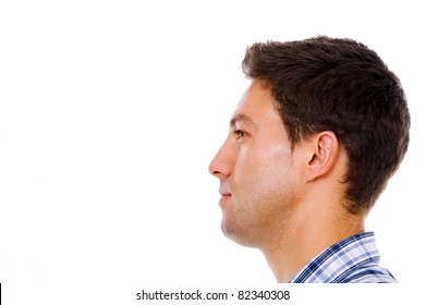 Profile of a young casual man, isolated on white