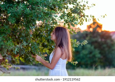 Profile of a young girl in white dress at sunset with long hair touching the magic tree