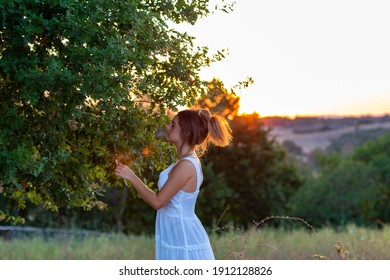 Profile of a young girl in white dress at sunset with tied hair near the magic tree