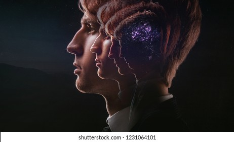 Profile of a young man with mental activity brain and consciousness, with the cosmos as a brain. The scientific concept. The brain and creativity