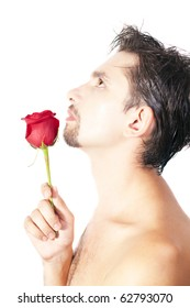 Profile of young men smell the red rose isolated on white background