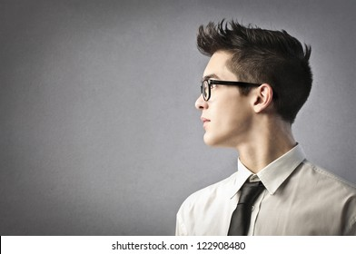 Profile of a young office worker