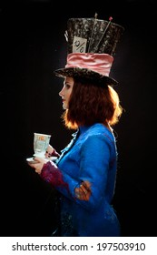 """Profile of young woman in the similitude of the Hatter (""""Alice's Adventures in Wonderland"""")"""