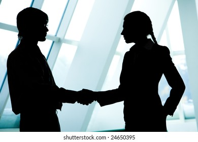 Profiles of two business partners handshaking after striking a deal