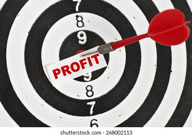 Profit Concept and a dart in center of target
