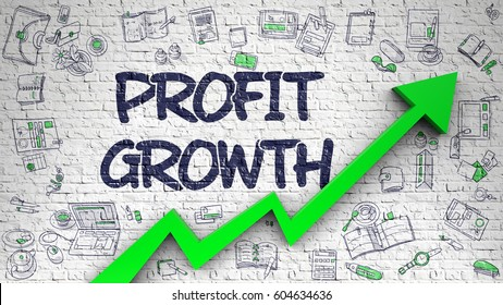 Profit Growth Drawn on Brick Wall. 3d.