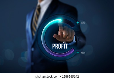 Profit growth, increase profit, raise profit or business growth concept. Businessman is pulling up circle progress bar with the word PROFIT on dark tone background.
