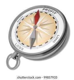Profit or loss Fantasy illustration of a compass with a red arrow pointing to profit and a grey arrow pointing to loss