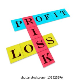 profit, loss and risk, isolated words on color paper