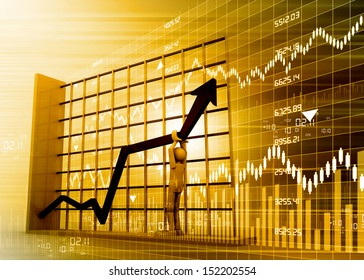 Profit making graph on abstract business background