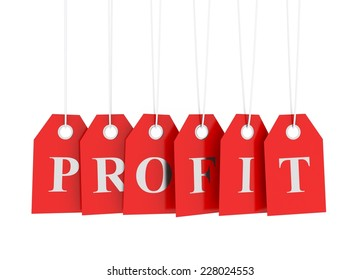 Profit tag on red hanging labels isolated on white background