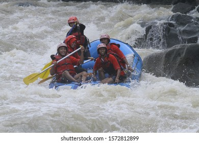 Progo River Rafting. Magelang, Central Java, 23 September 2019. This photo was taken while on a Rafting vacation on the Progo River, Magelang.