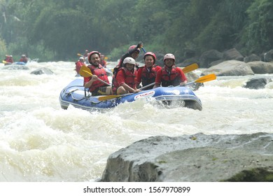 Progo River Rafting. May 14, 2019. Magelang, Central Java, Indonesia. This photo was taken during the Rafting vacation on the Progo River.