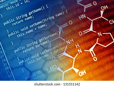Program code and chemical formula. Science concept.
