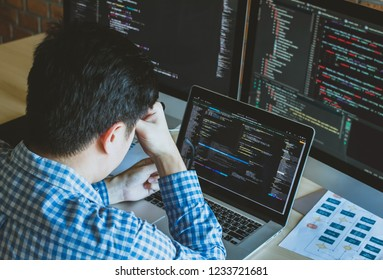 programer having  problem project developer programming and coding technology. Website design Safety of the social world Cyberspace concept.