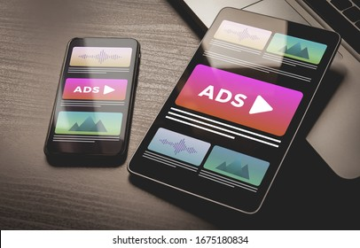Programmatic Advertising concept. Youtube Online native targeting ads marketing strategy. Inbound Advertising media banner block when viewing a site on a mobile phone and tablet pc screens