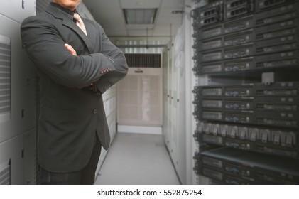 Programmer in data center room