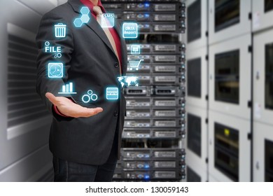 Programmer in data center room and icon control