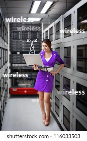 Programmer in data center room  and wireless signal