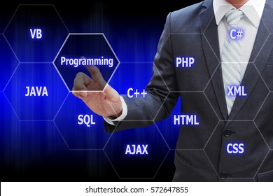 Programmer hand touching virtual panel of programming languages, Computer technology concept