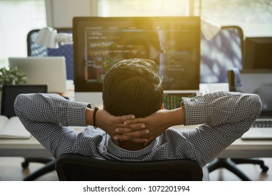 Programmer leaning back in his chair and looking at his code on computer screen