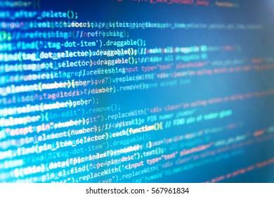 Programmer occupation job. Programming code typing. Binary digits code editing. Writing programming code on laptop. Displaying program code on computer. Writing programming functions on laptop.